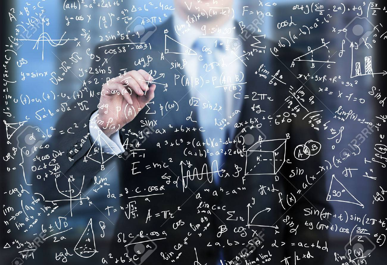 A Business Person Is Writing Down Math Formulas On The Glass.. Stock ...