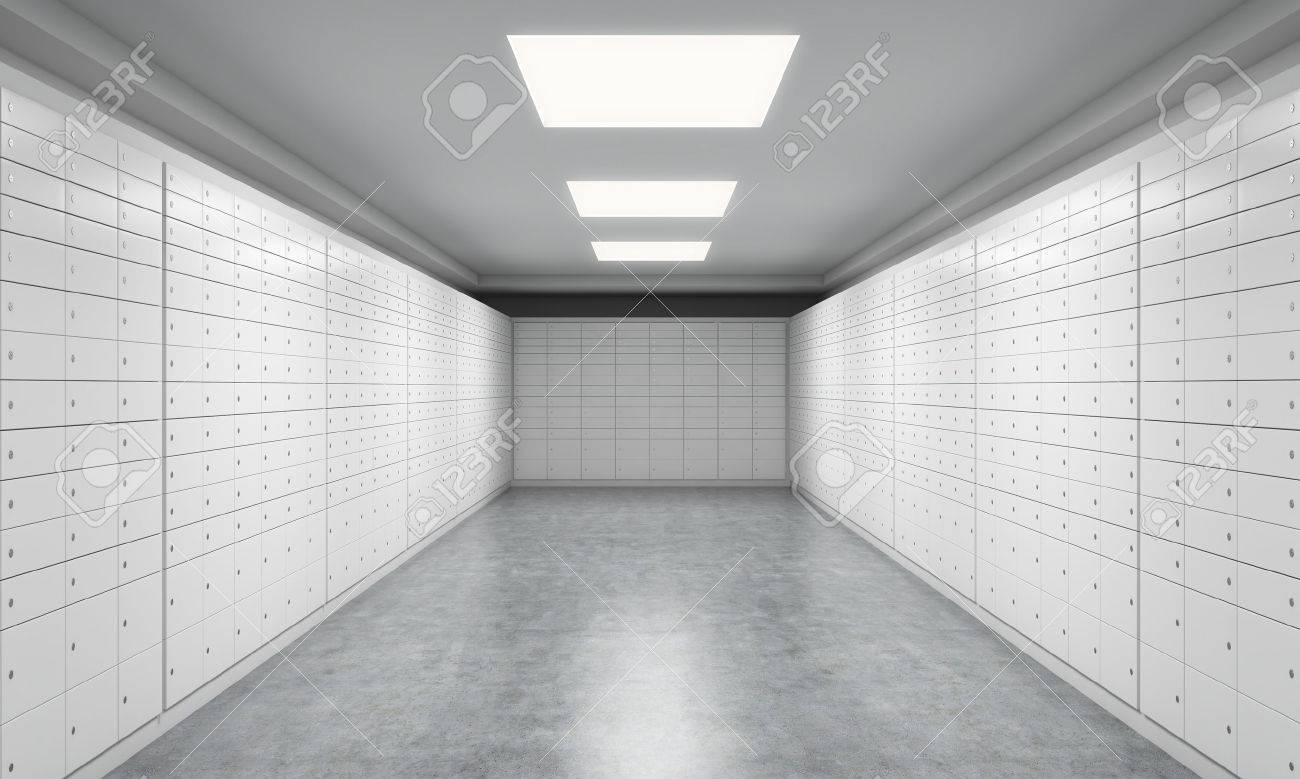Ein Heller Raum Mit Schließfächern Ein Konzept Der Speicherung Von
