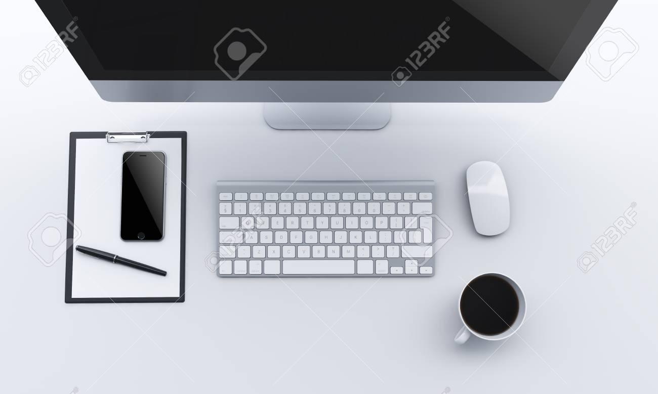 Ufficio Del Lavoro In Nero : Sul posto di lavoro con computer mouse e una tazza di caffè a