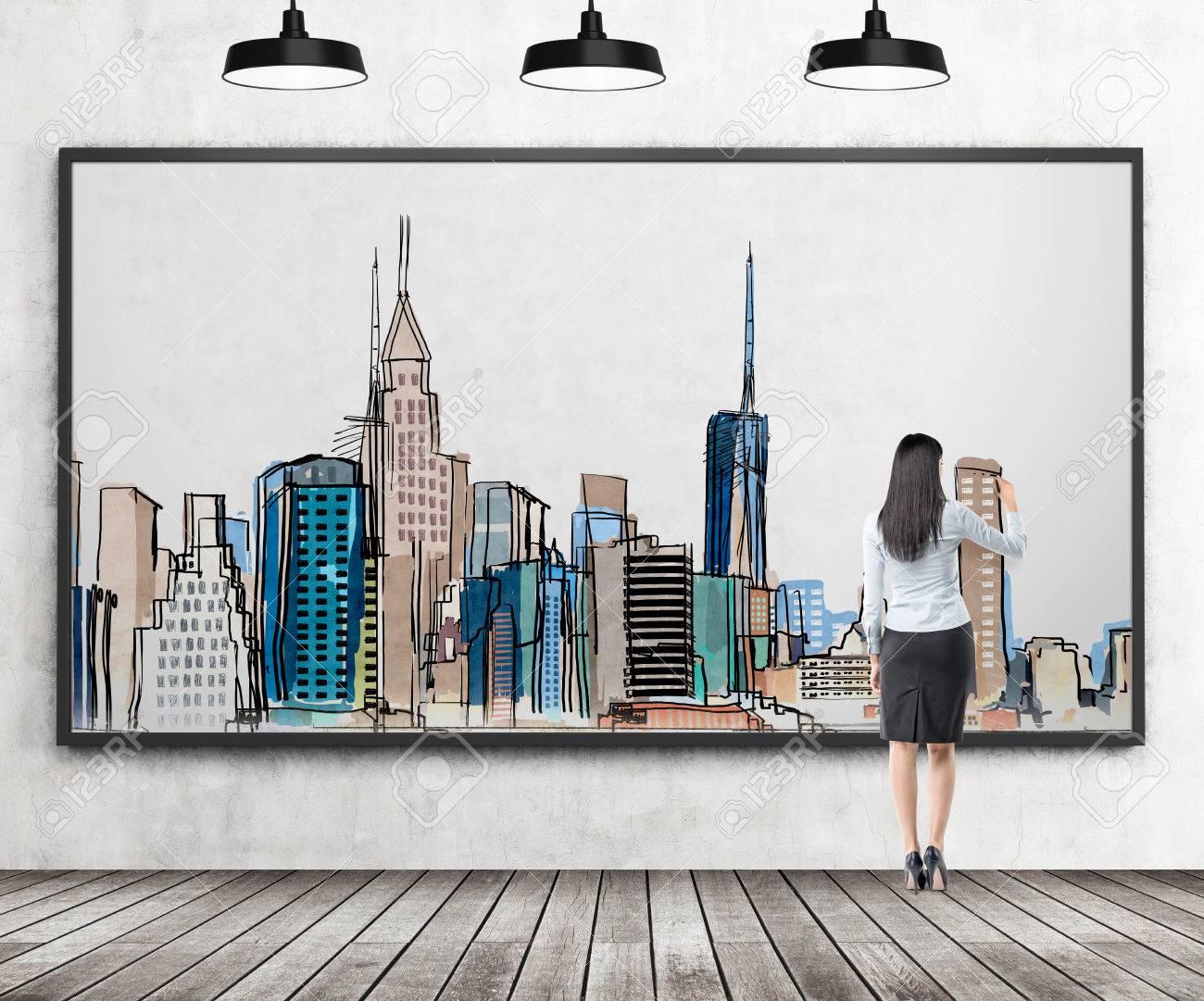 Joven Empresaria Dibujar Una Imagen De La Ciudad De Nueva York Con ...
