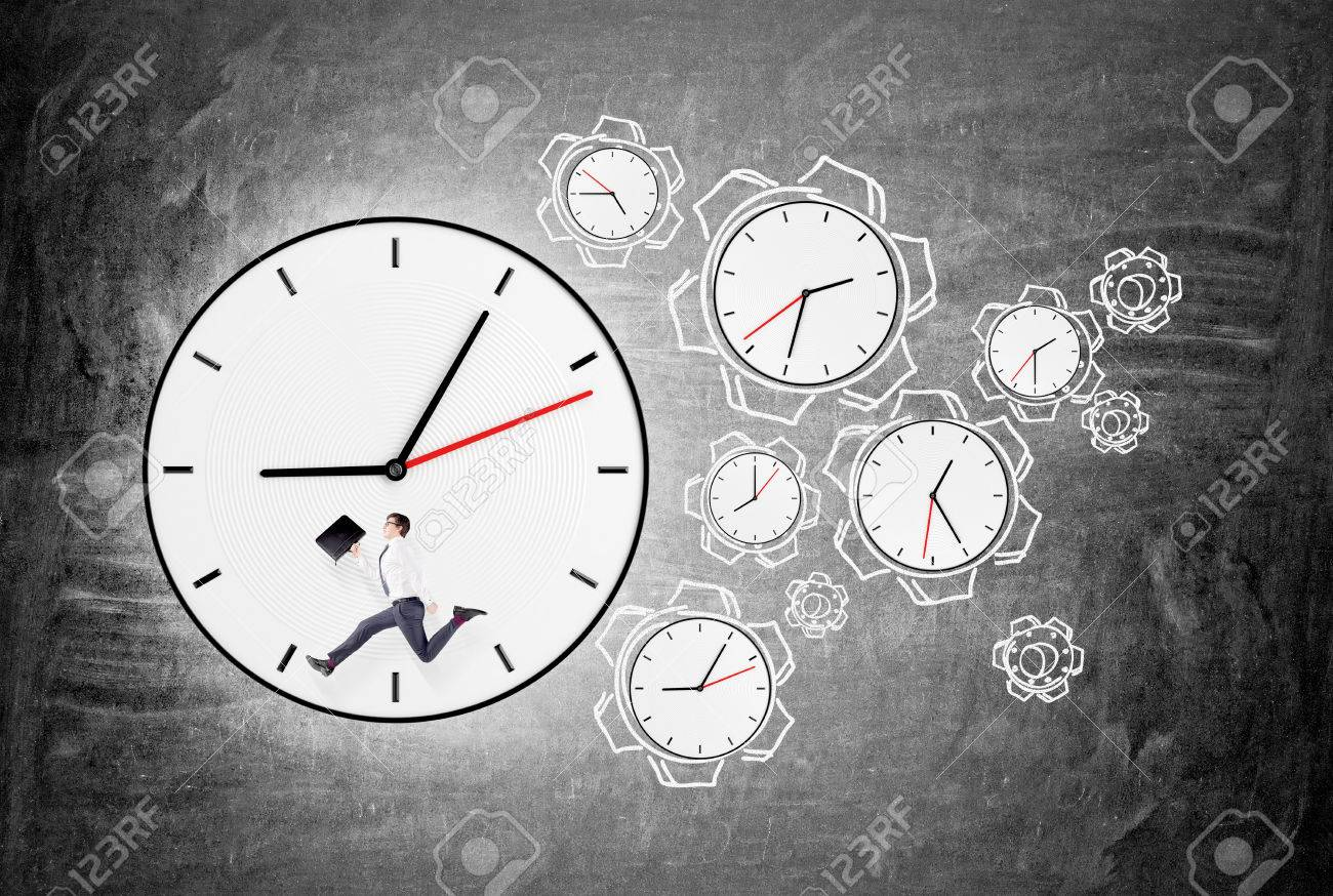 Big Clock With Words Instead Of Numbers A Man With A Folder Stock