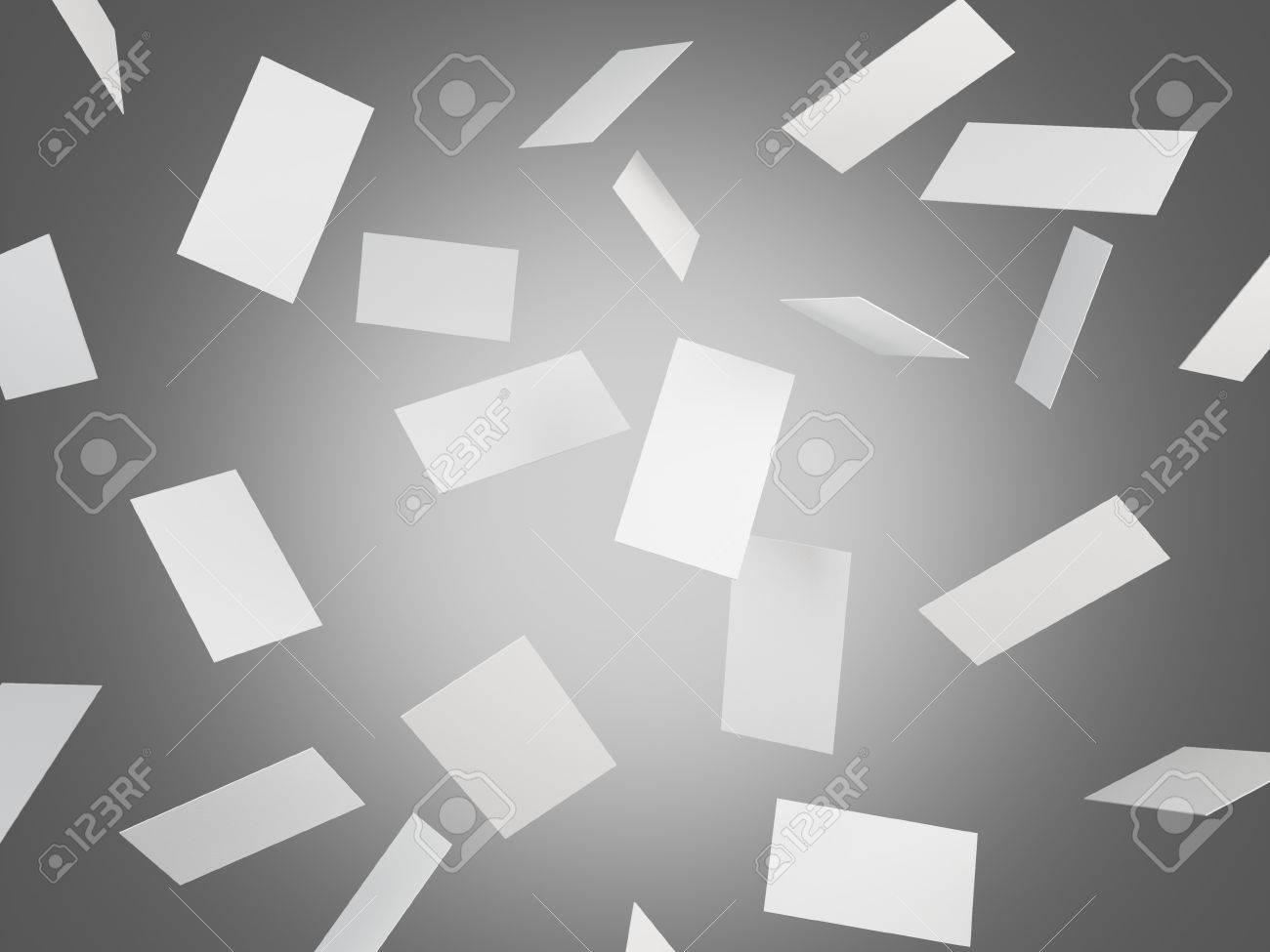 Many Blank Business Cards Falling, Grey Background. Concept Of ...