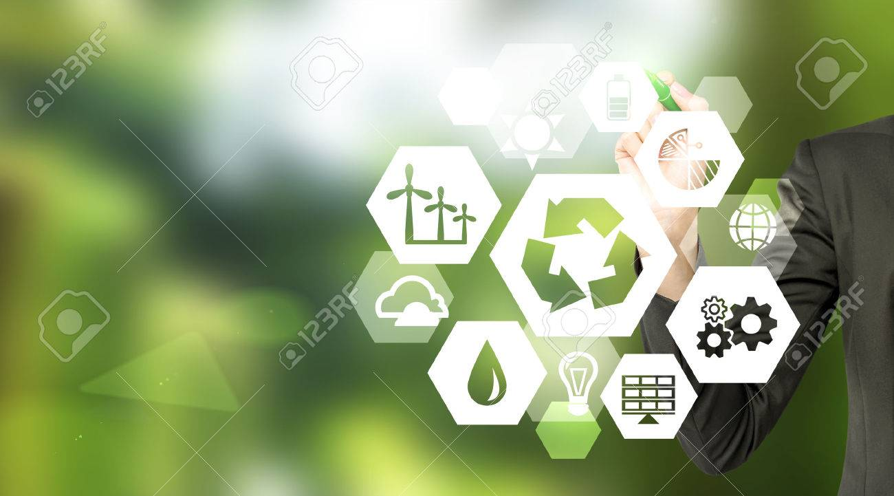 hand drawing signs of different green sources of energy in hexahedron shape, a 'reduce, reuse, recycle' sign in the centre. Blurred green background. Concept of clean environment. - 51593436