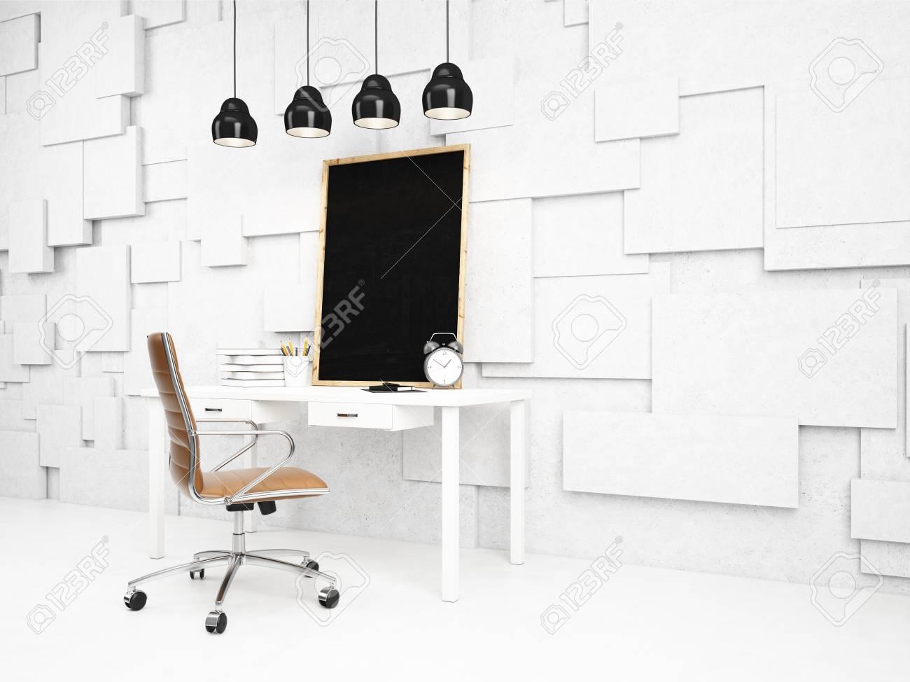 Un Lugar De Trabajo Con Una Pizarra En Un Marco Blanco, Agendas ...
