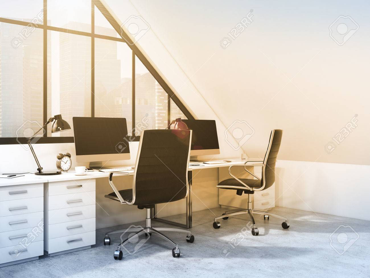 A row of tables in front of the panoramic window in an office situated in the & A Row Of Tables In Front Of The Panoramic Window In An Office ...