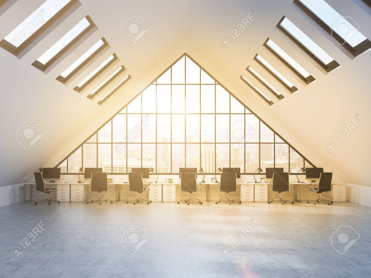 row of tables in front of a big triangle window in an office situated in the & Row Of Tables In Front Of A Big Triangle Window In An Office.. Stock ...