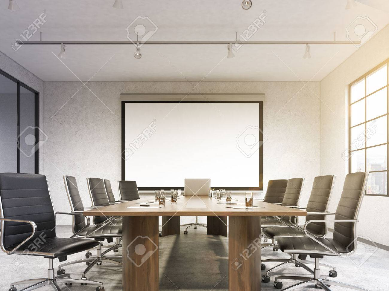 Big Meeting Room Blank Poster On White Wall Behind Table Concept Of Negotiations