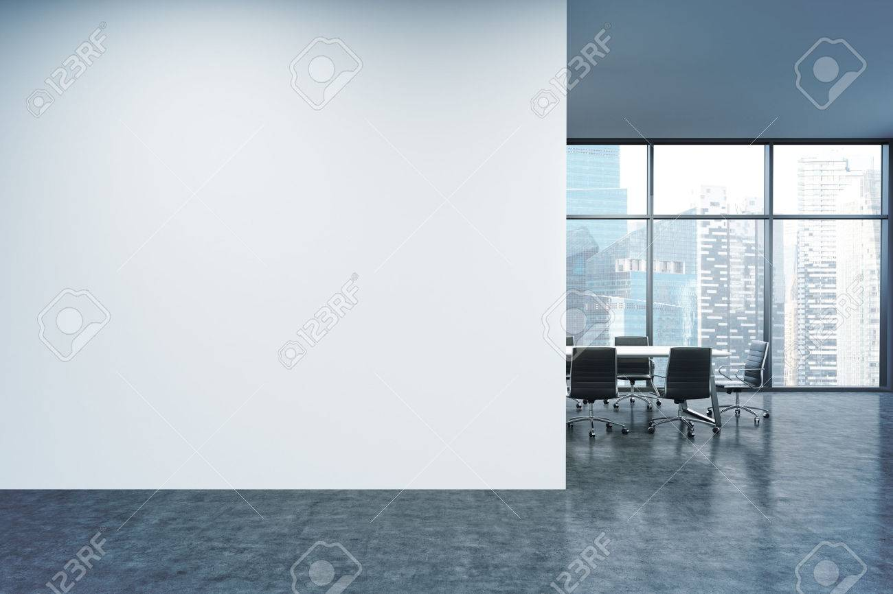 Empty office, white wall in front of panoramic window, Singapore view, table for meetings. Concept of new office. 3D rendering - 53460877