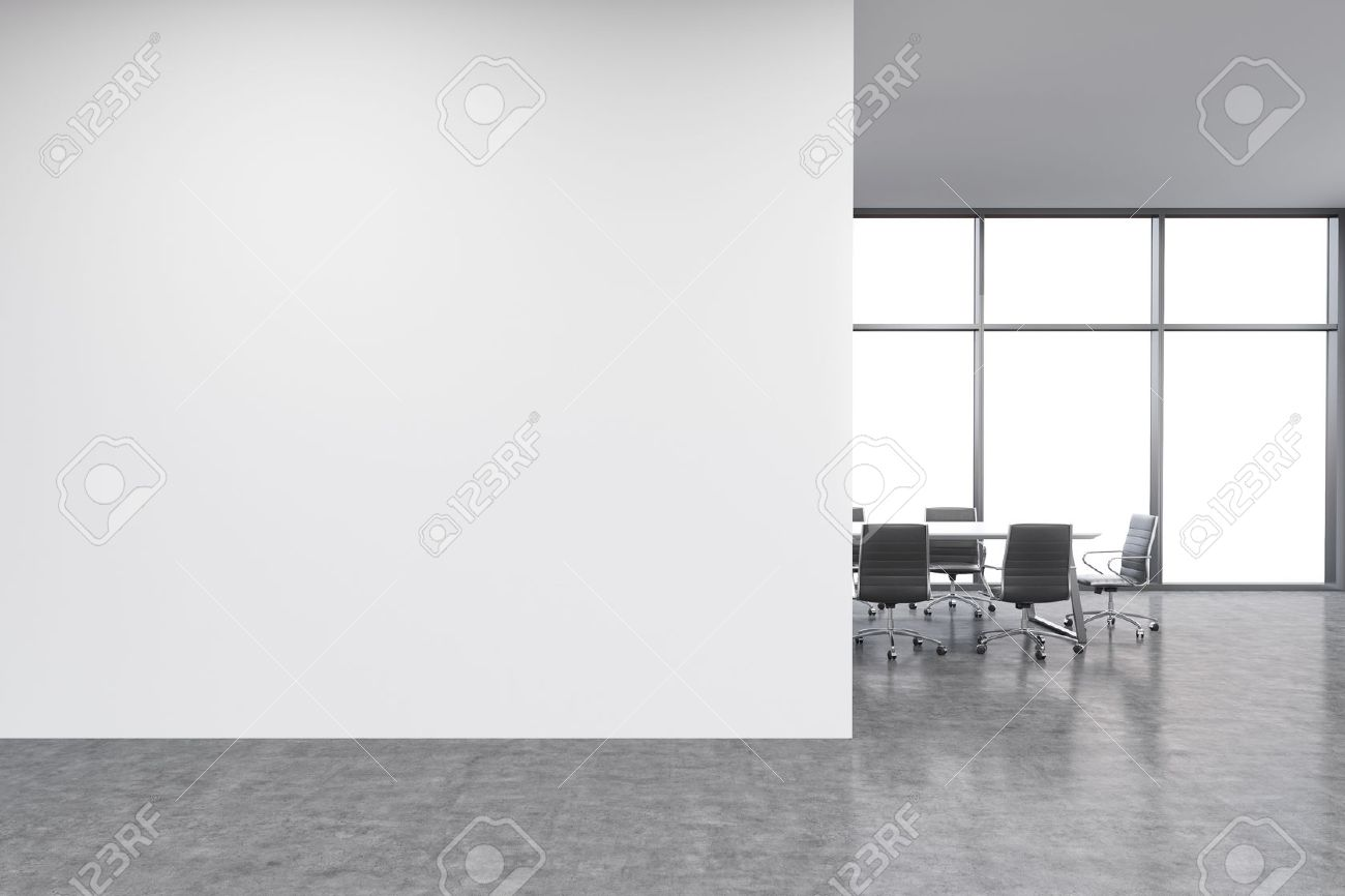 Superbe Empty Office, White Wall In Front Of Panoramic Window, Table For Meetings.  Concept