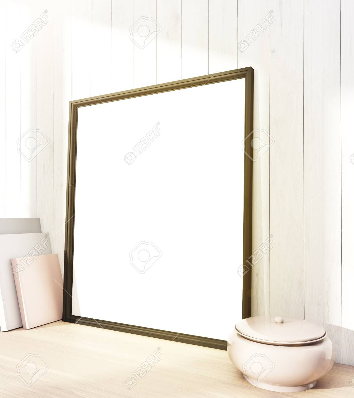 Blank Frame At Wall, Canvas To The Left, White Ceramic Pot To ...
