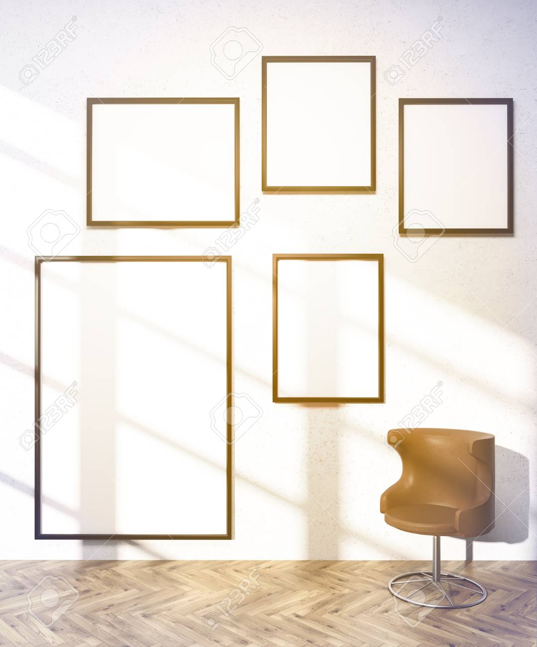 Five Frames Of Different Sizes On White Wall, Brown Armchair ...