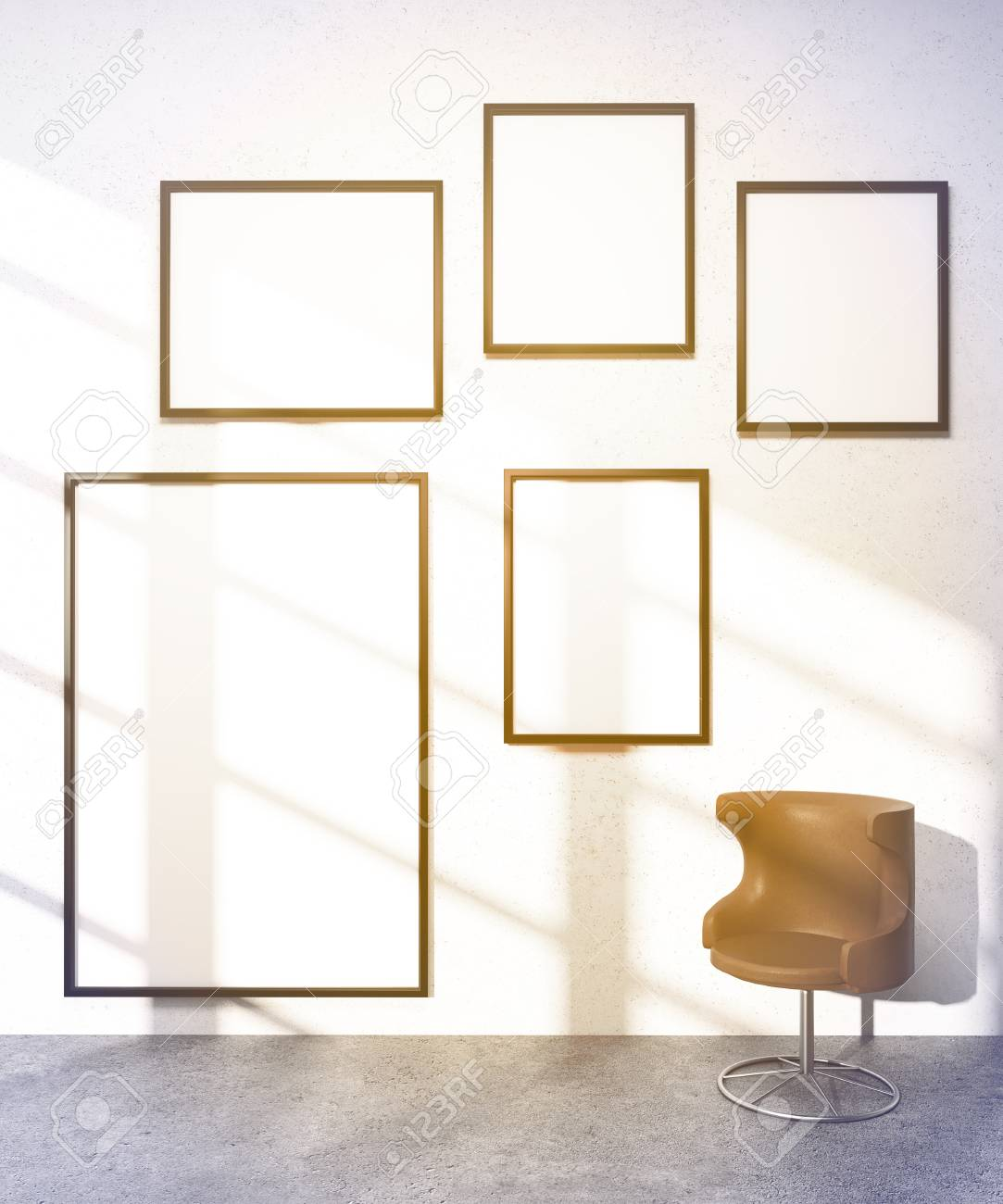 Five Frames On White Wall, Brown Armchair. Concept Of Exhibition ...