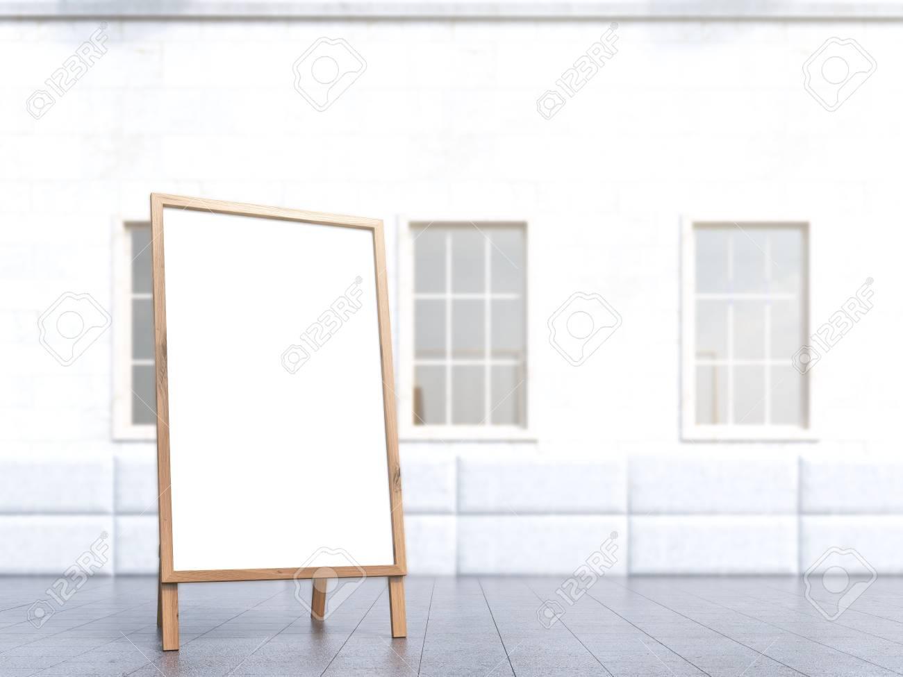 Affiche debout blanche maison à fond concept de publicité maquette rendu 3d