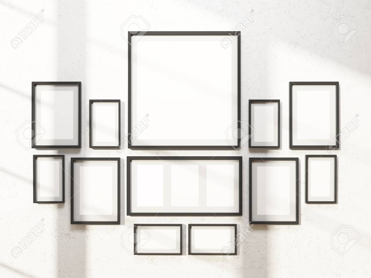 Many White Frames On Wall, Symmetrical. Concept Of Exhibition ...