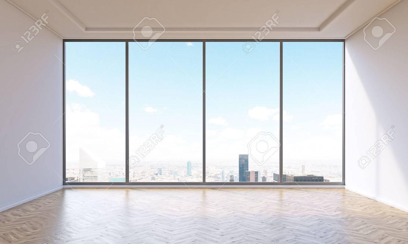 Ufficio Nuovo Xl : Ufficio vuoto con finestra panoramica. vista della città. concetto