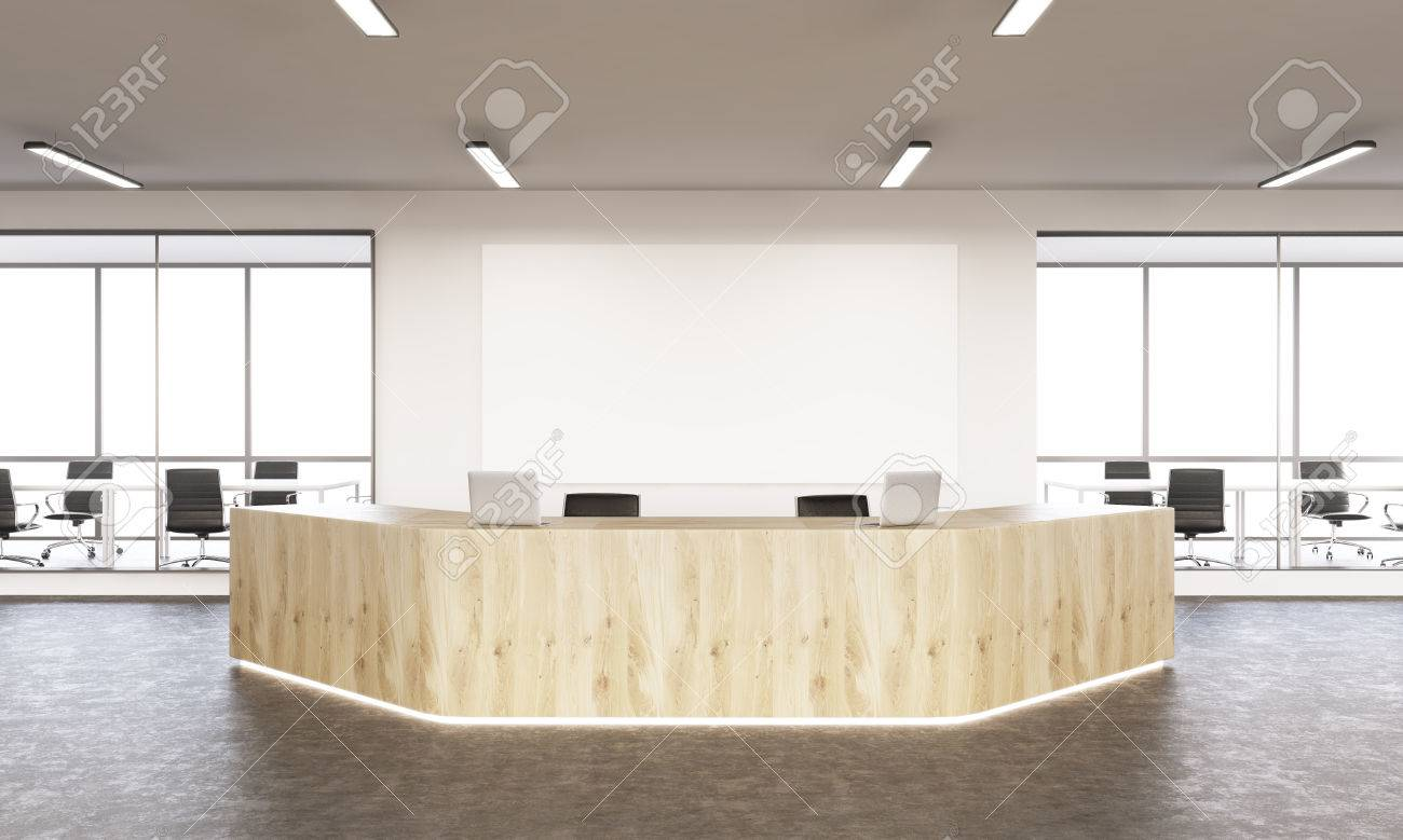 Interior Design With Reception Area And Blank Board Mock Up 3D Rendering Stock Photo