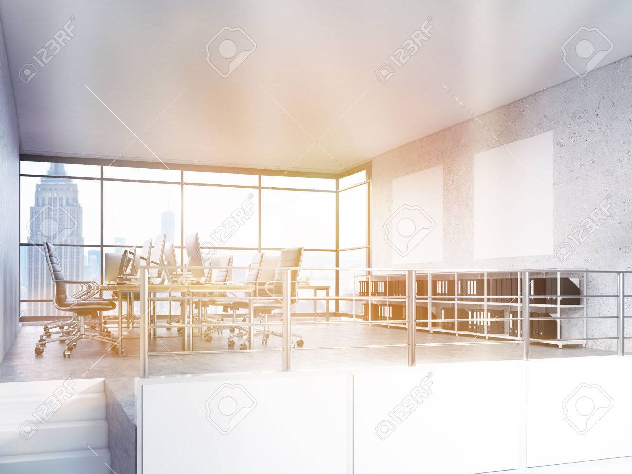 office interior design with new york city view 3d rendering stock
