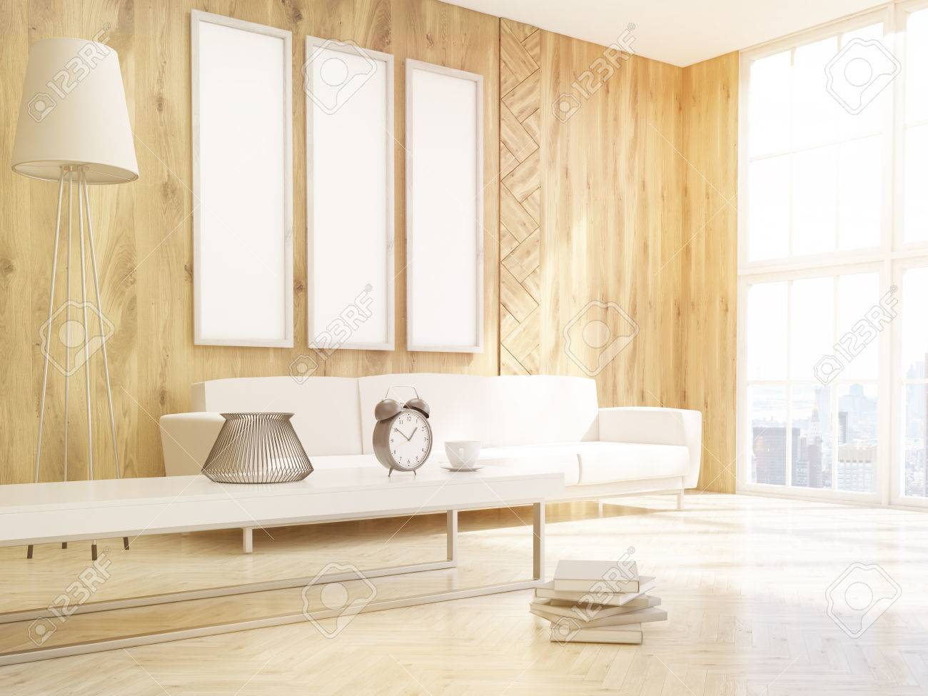 Three Vertical Frames On Wooden Wall Over Sofa, Standard Lamp ...