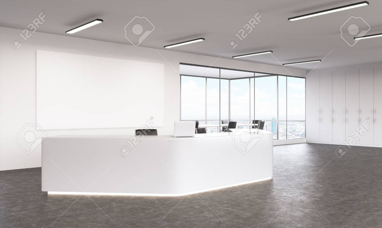 Interior design with white reception area and blank canvas. Mock up 3D Rendering Stock & Interior Design With White Reception Area And Blank Canvas. Mock ...