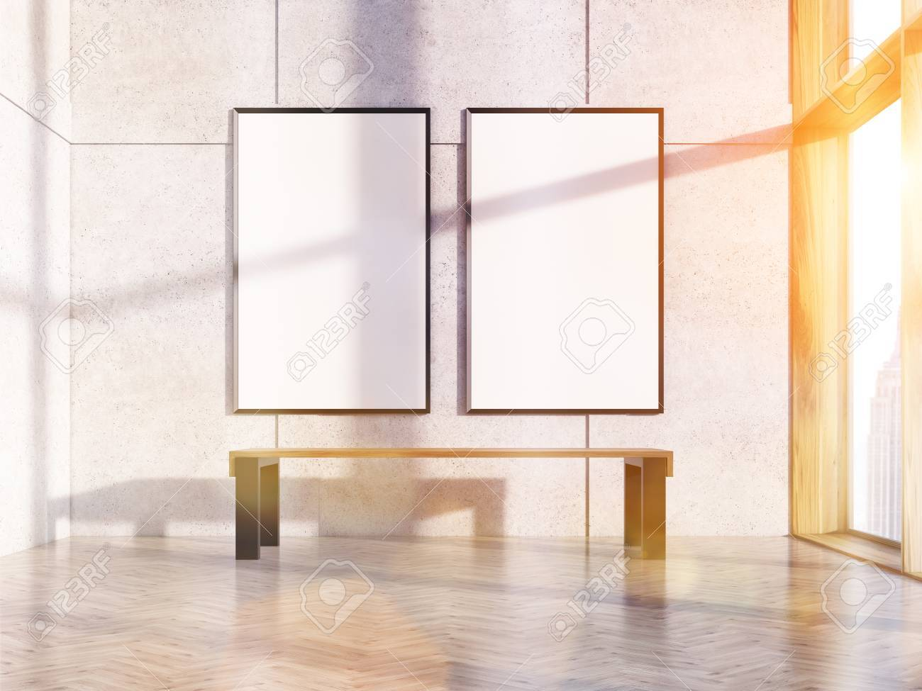 Two Blank Picture Frames In Sunlit Interior With Bench, Concrete ...