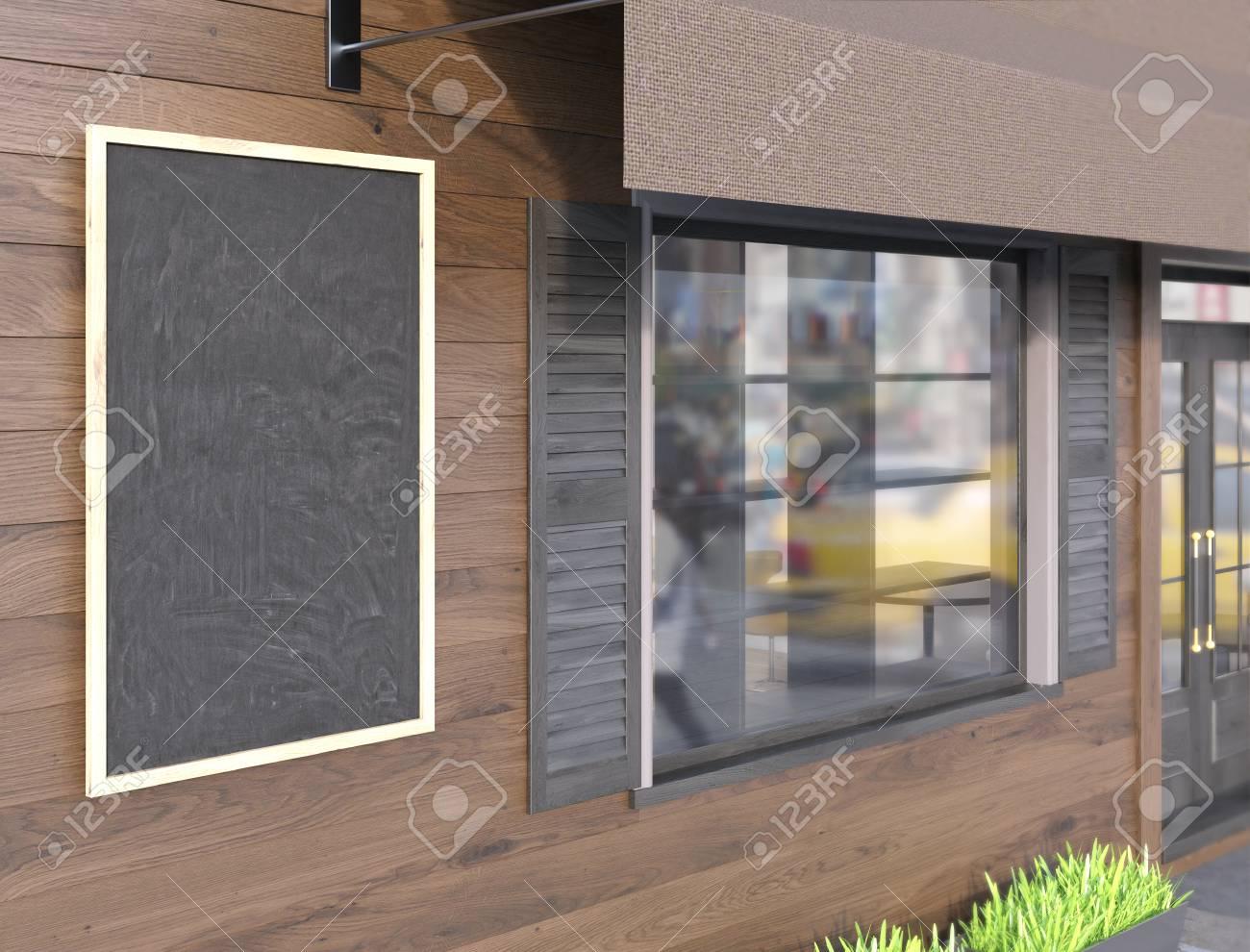 La Pietra Della Lavagna primo piano della lavagna vuota su marrone tavola di caffè esterno. mock  up, rendering 3d