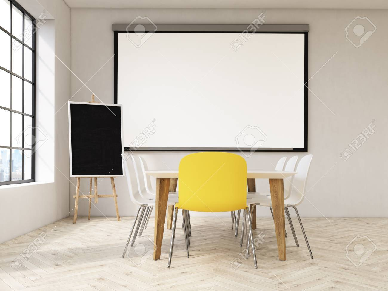 Interior Design With Blank Whiteboard On Wall Blackboard Stand Table And Chairs Concrete