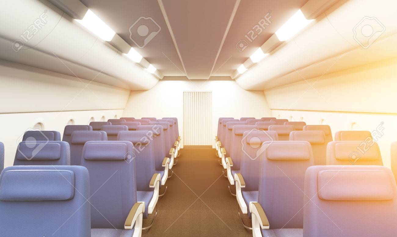 Modern Bright Airplane Interior With Two Rows Of Blue Seats Stock