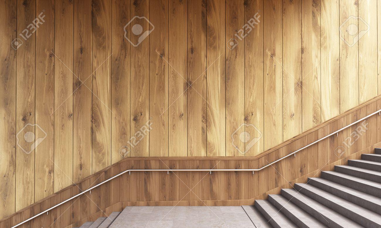 La Plinthe Du Mur vue de côté de la planche en bois mur, garde-corps et escaliers. rendu 3d