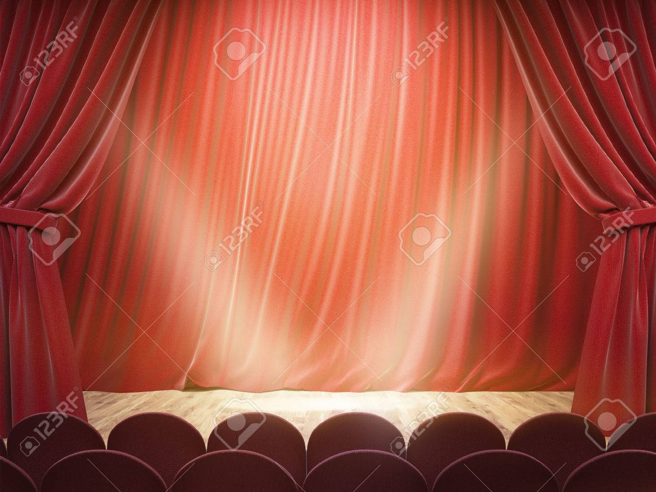 Stock Photo   Theater Stage With Drawn Red Curtains And Limelight. Mock Up,  3D Rendering