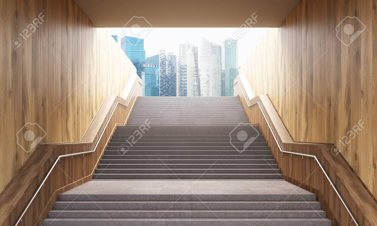 Success concept with concrete and wooden staircase leading to