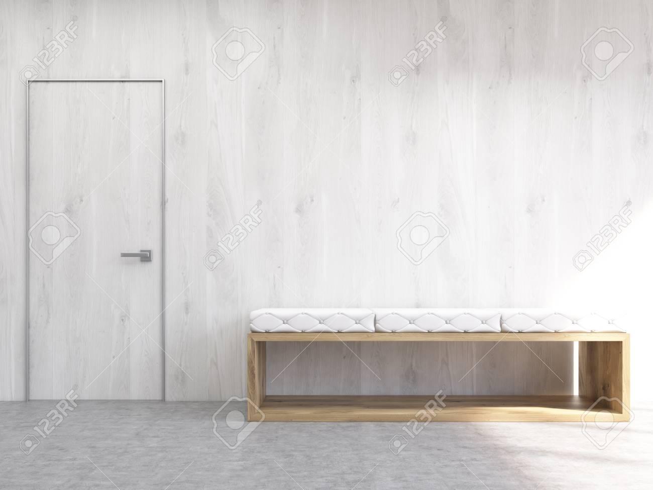 Intérieur Avec Mur En Bois Blanc Banc Et Porte Maquette Rendu 3d