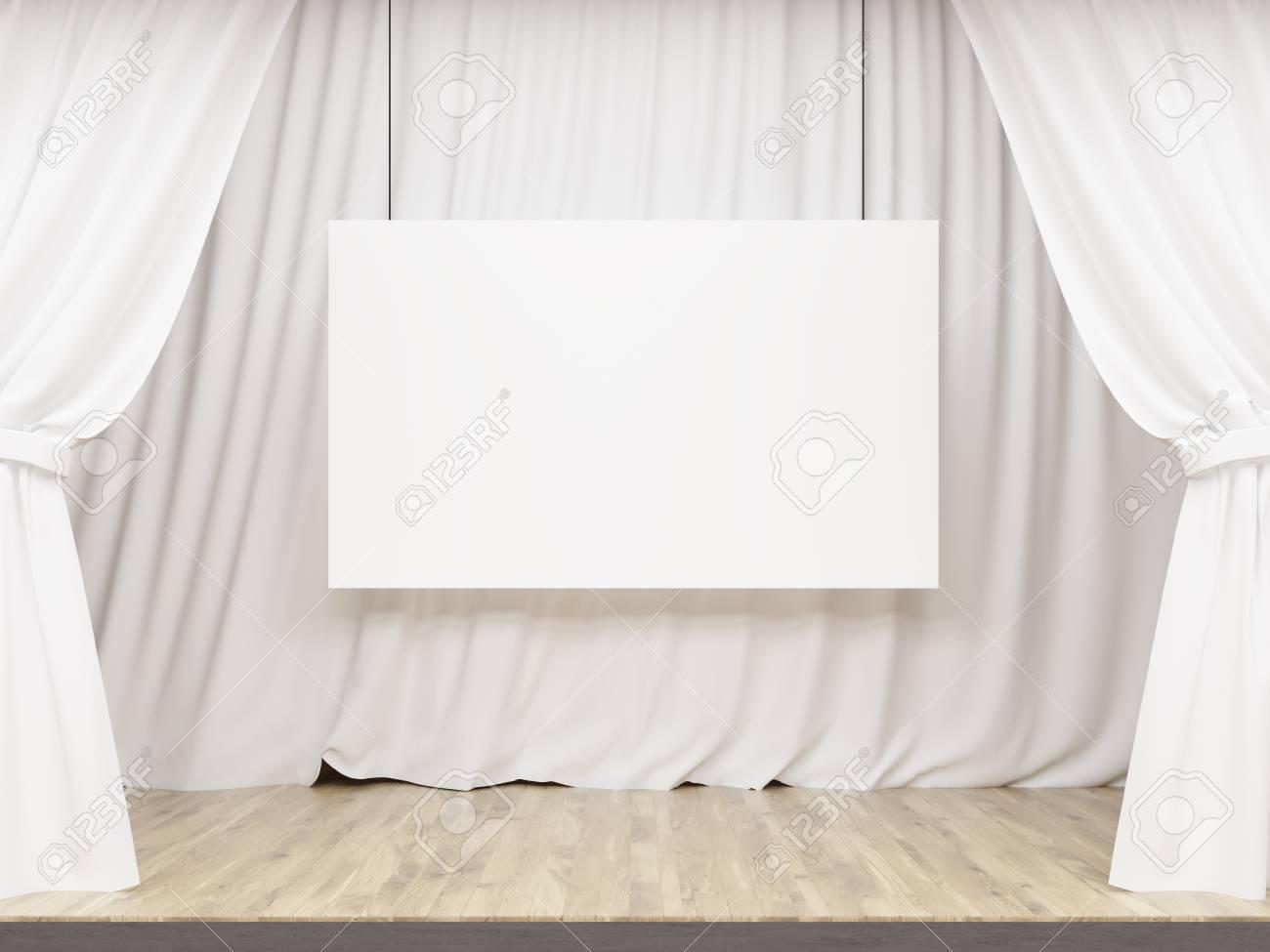 Scène Avec Des Rideaux Blancs Et Panneau Blanc Maquette Rendu 3d