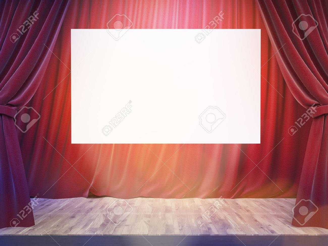 Theater Stage With Drawn Red Curtains, Blank White Banner And Limelight.  Mock Up,