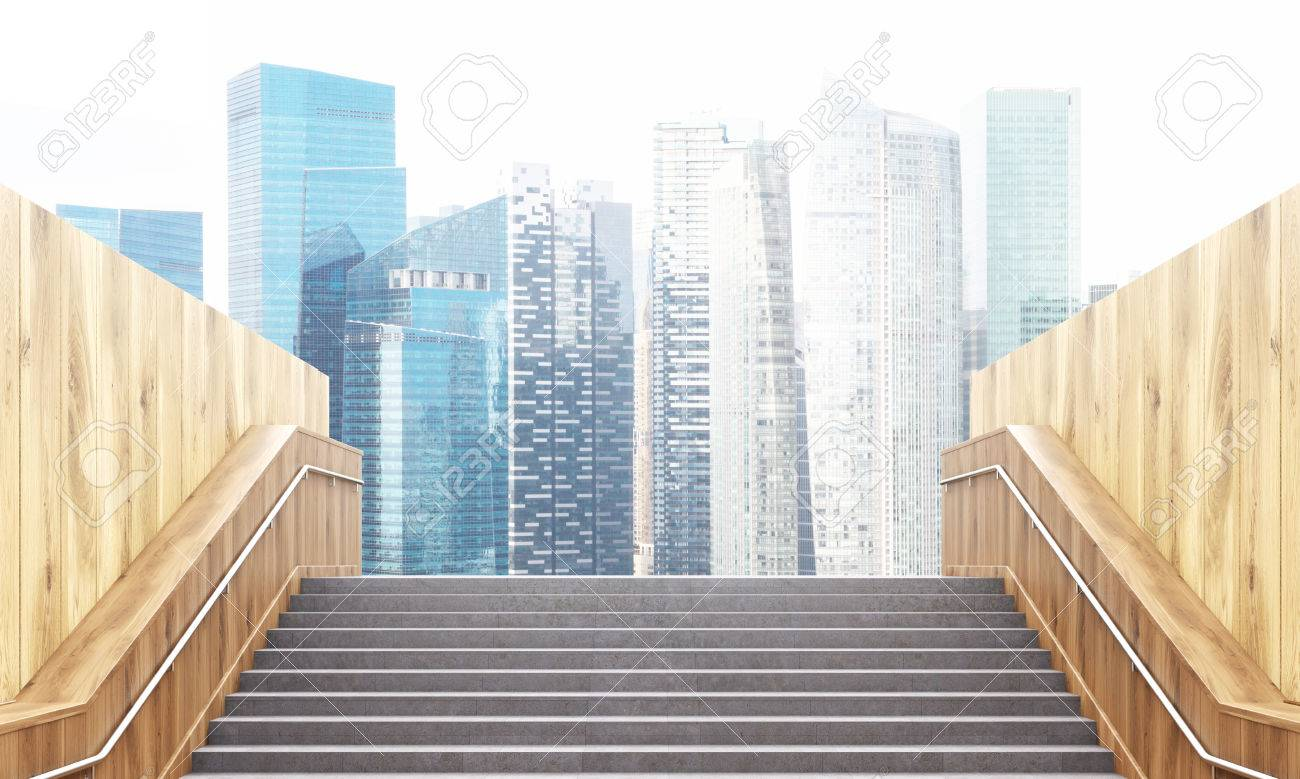 Success concept with staircase leading to Singapore city  3D