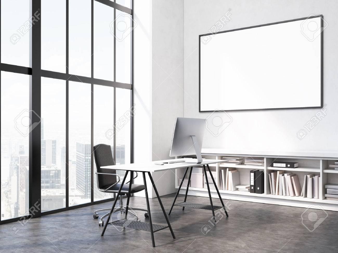 Interior De La Oficina Con Puesto De Trabajo, Marco De Imagen En ...