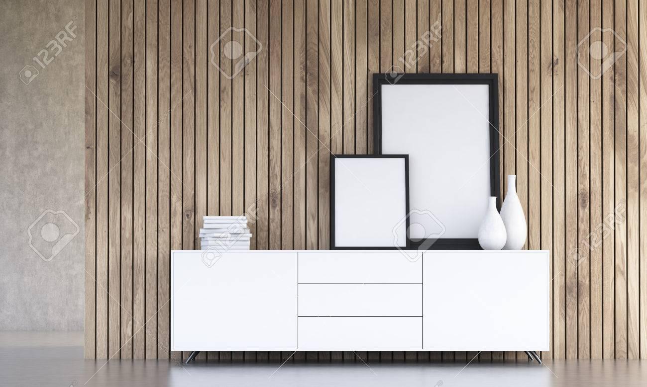 Interior Design Mit Leeren Bilderrahmen, Vasen Und Bücher Auf Weißem ...