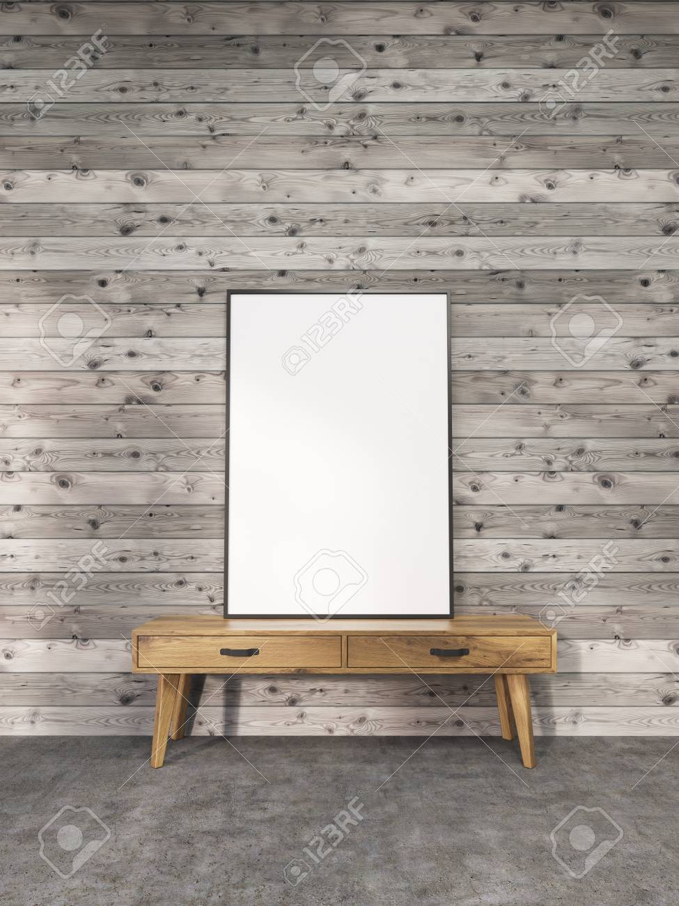 Blank Picture Frame On Small Wooden Stand In Interior With Plank