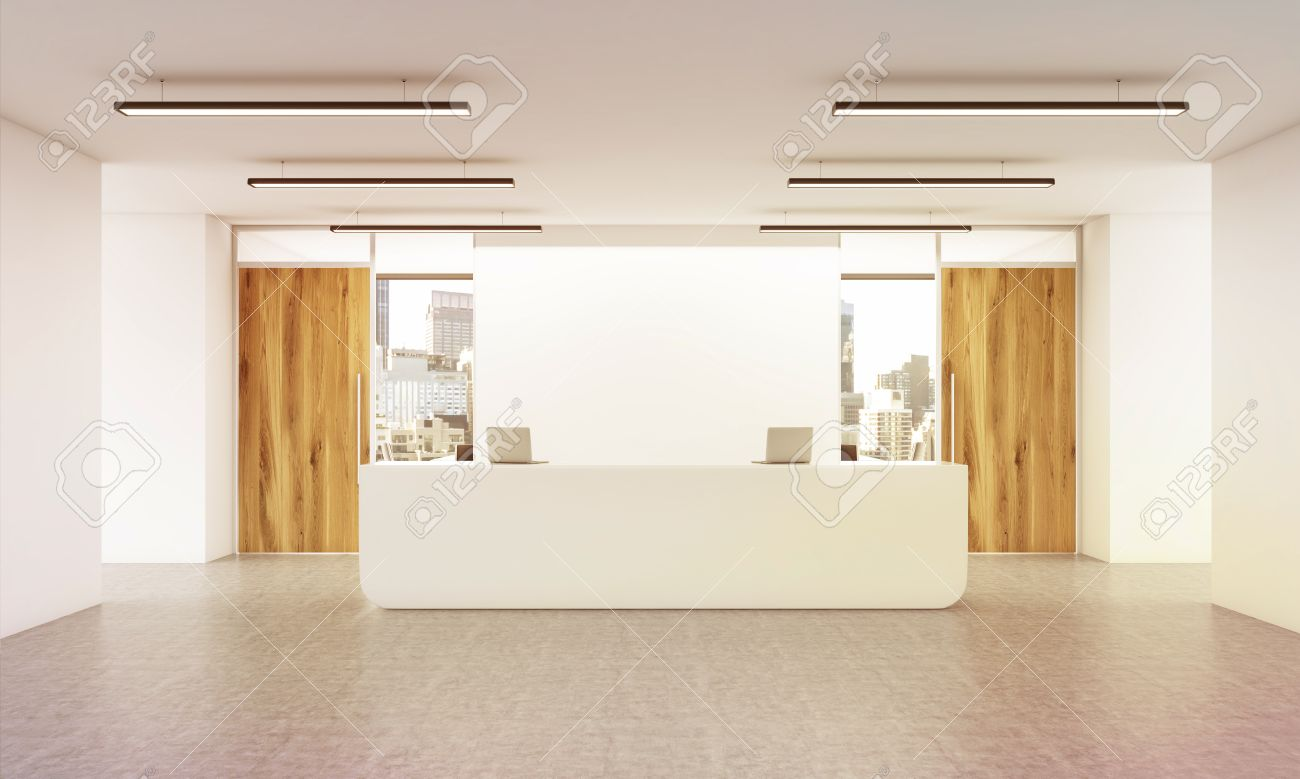 office reception interior. Office Lobby Interior With Reception Desk, Concrete Floor, Wall, Wooden Doors And City