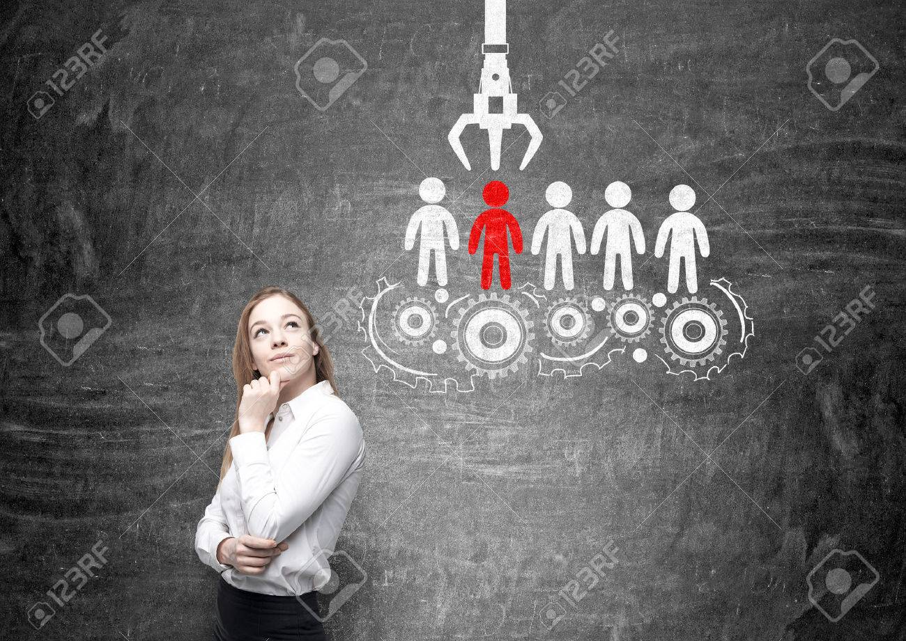 Human resources management and choice concept with thoughtful businesswoman and sketch on chalkboard background - 57409022
