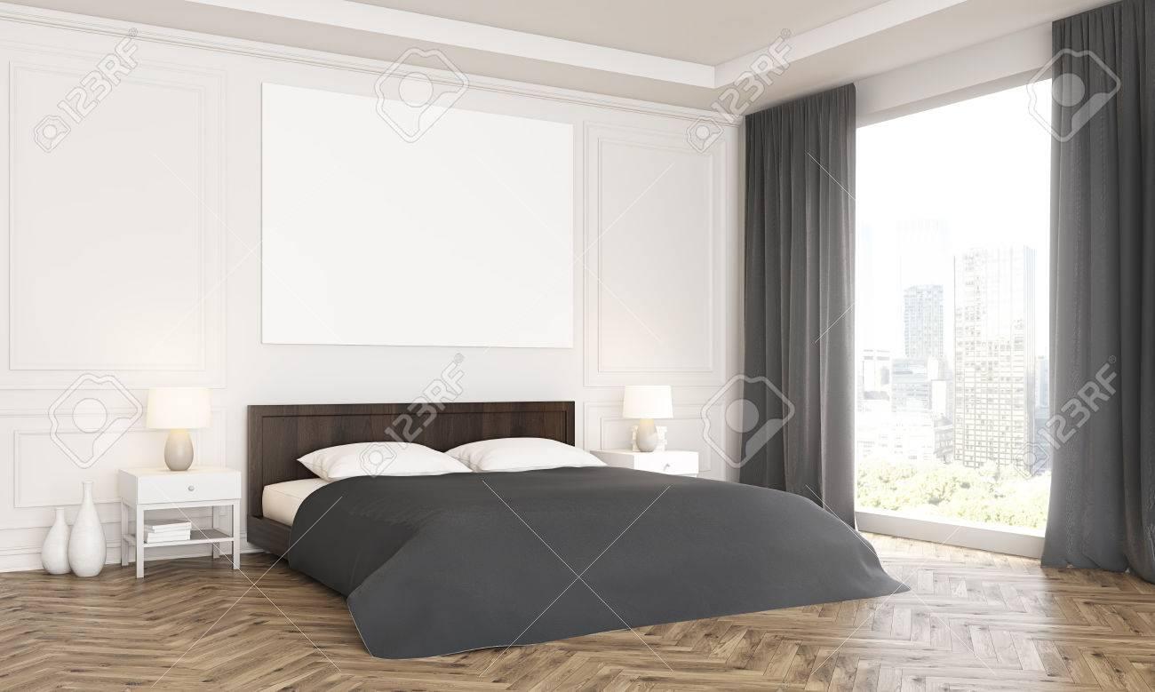 Holzfußboden Schlafzimmer ~ Seitenansicht des luxuus schlafzimmer inter mit leeren poster über
