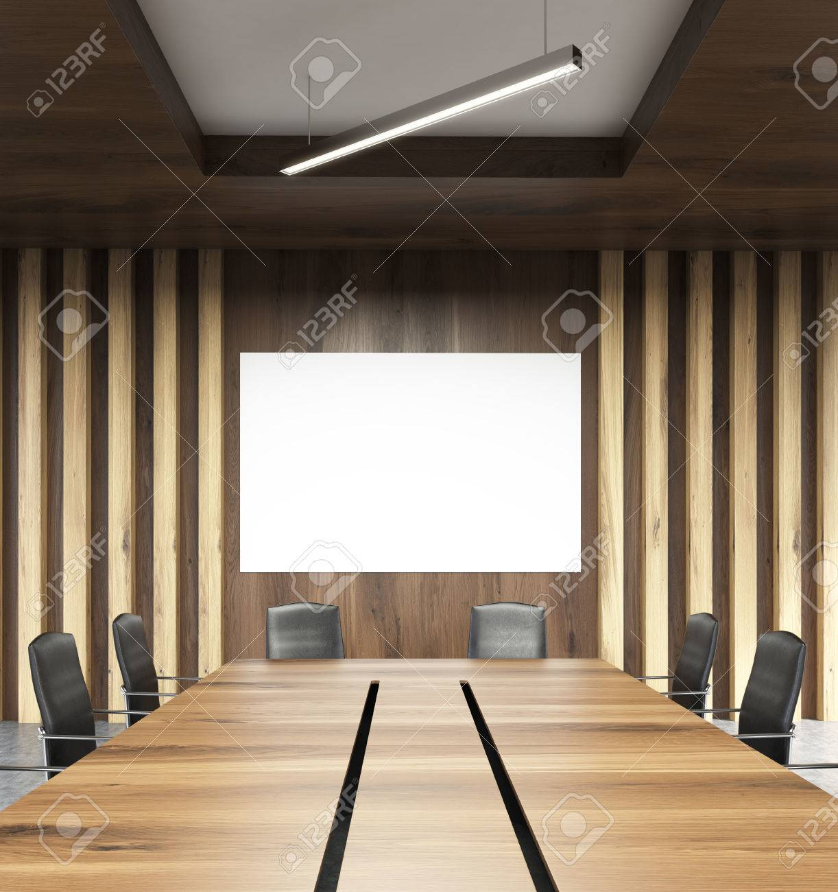 Closeup Of Table In Conference Room Interior With Blank Whiteboard - Whiteboard conference table