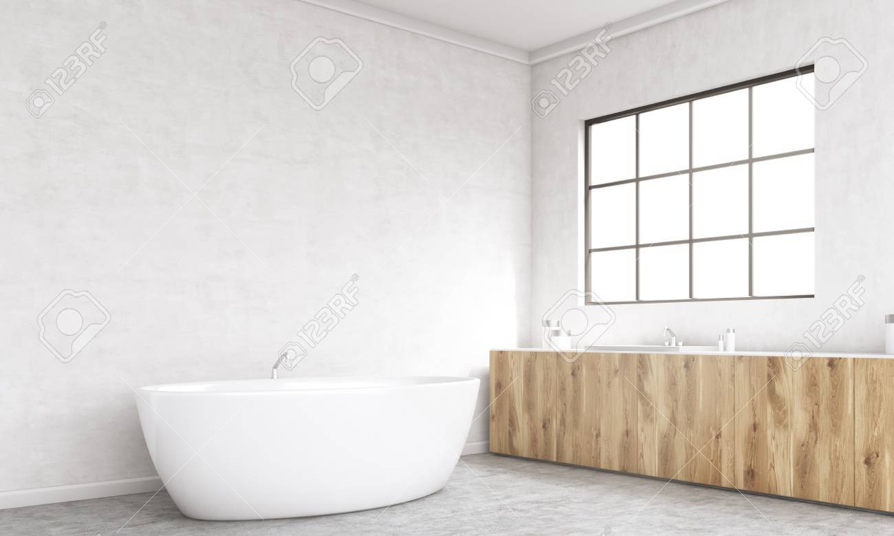 Betonfußboden Im Bad ~ Seitenansicht des beton bad inter mit badewanne holz zähler und