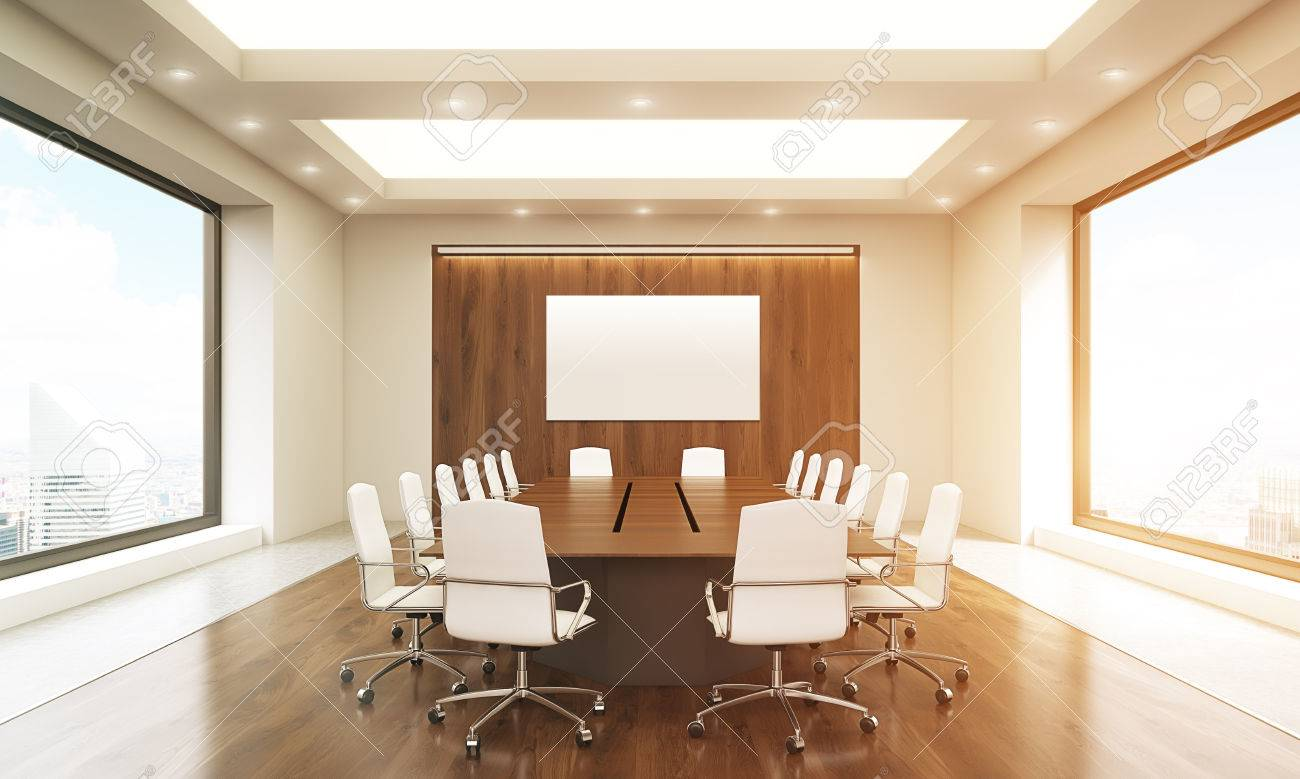 Front View Of Concrete And Wooden Conference Room Interior With Blank  Whiteboard, Table, Chairs