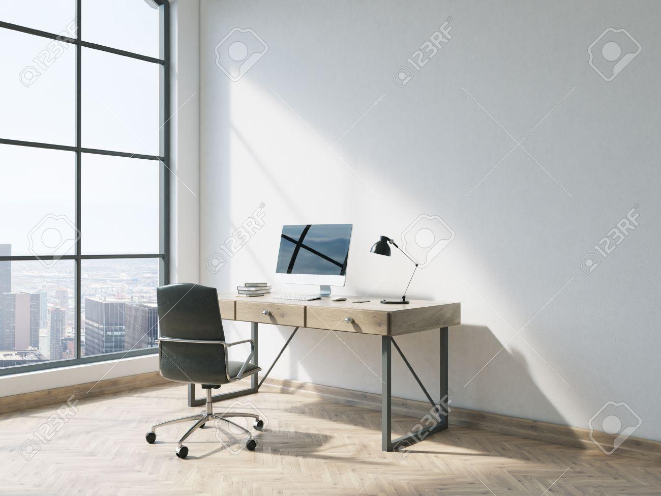 Vista Lateral De Entre La Oficina Minimalista Con Suelo De Madera ...