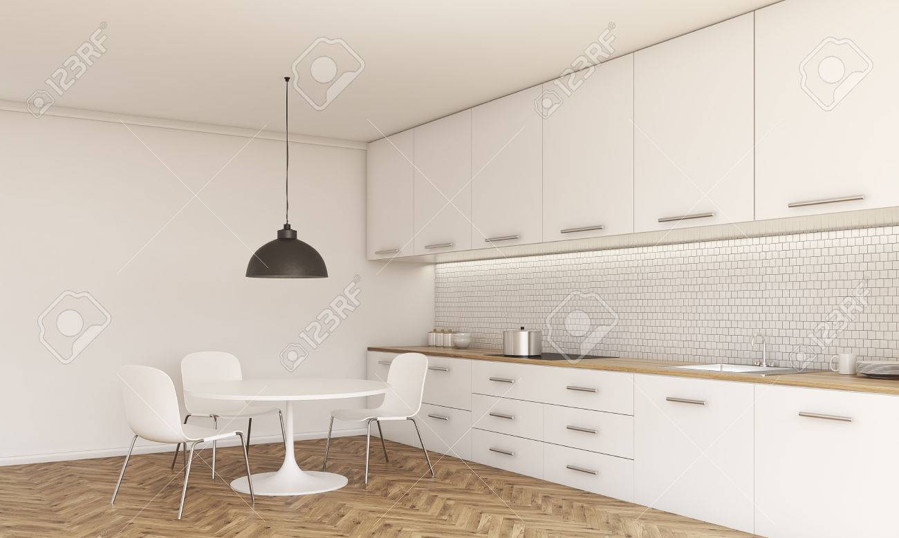 Side View Of Kitchen Interior With Small Dining Table And Chairs Stock Photo Picture And Royalty Free Image Image 59651937