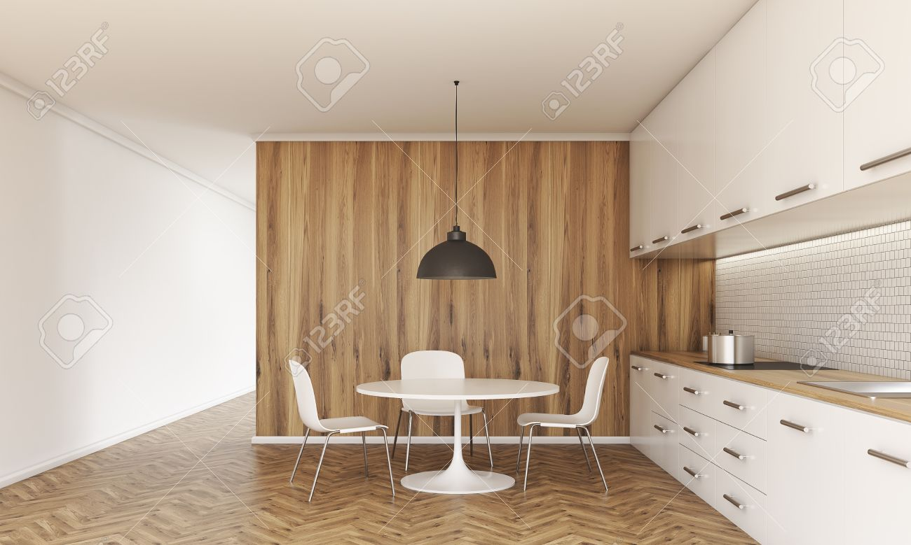 Picture of: Kitchen Interior With Small Dining Table And Chairs Counter Stock Photo Picture And Royalty Free Image Image 59651557