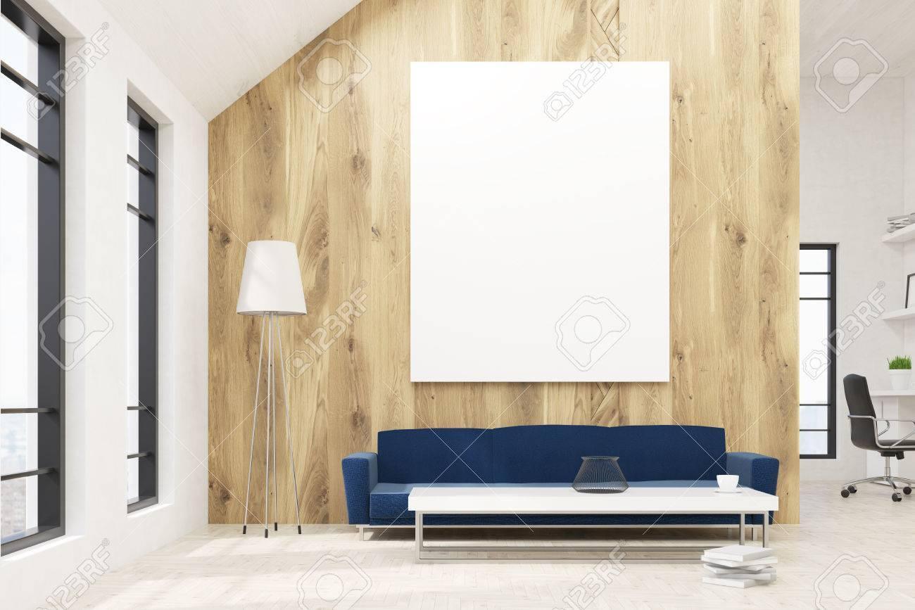 Wartebereich Im Buroinnenraum Mit Leeren Pinnwand Auf Holzwand