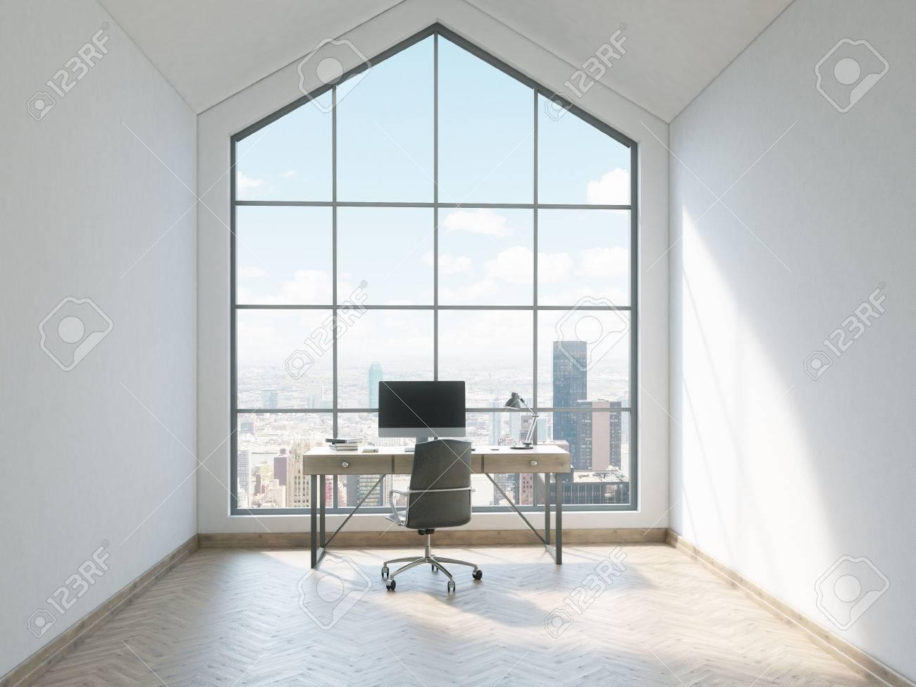 Frontansicht Des Minimalistischen Büro Interieur Mit Holzboden ...