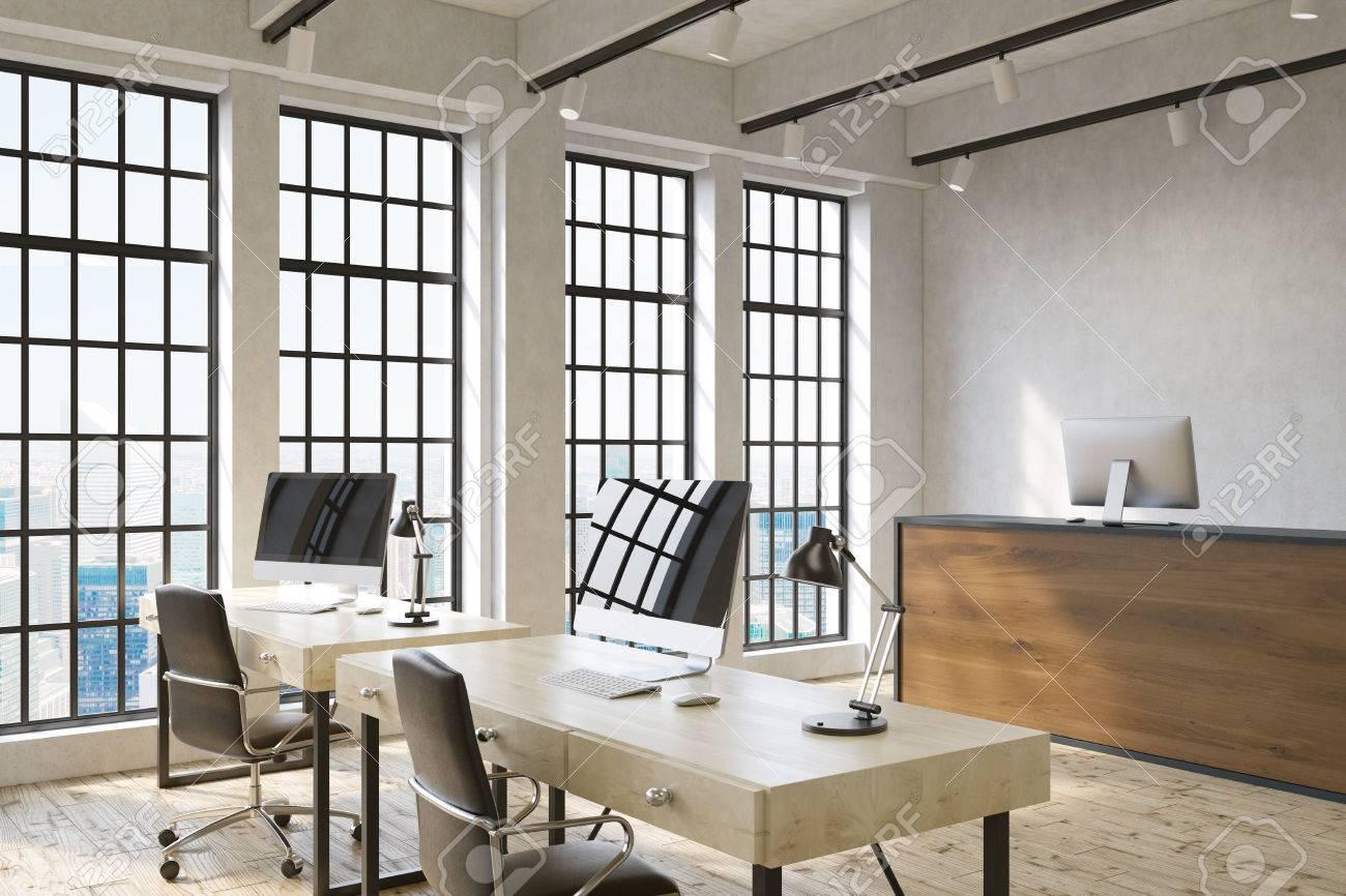 Intérieur de bureau moderne avec deux postes de travail un bureau