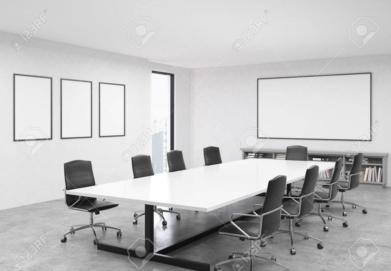 Concrete conference room interior with table, chairs, blank whiteboard,..
